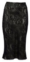 Michal Negrin Black Fantasy Collection High Waist Knee-Length Straight Skirt Crafted with Gray Lycra Lining and Contrast Black Lace - For Special Occasions; Handmade in Israel