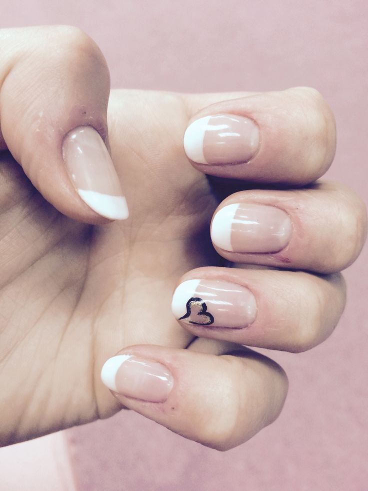 Gelish nails, french manicure with a black n gold unfinished heart ❤️