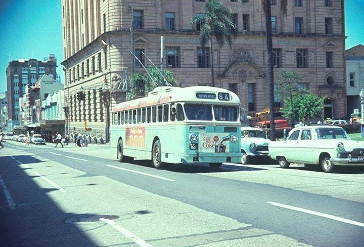 Trolley Bus, Elizabeth Street, Brisbane City c1960's