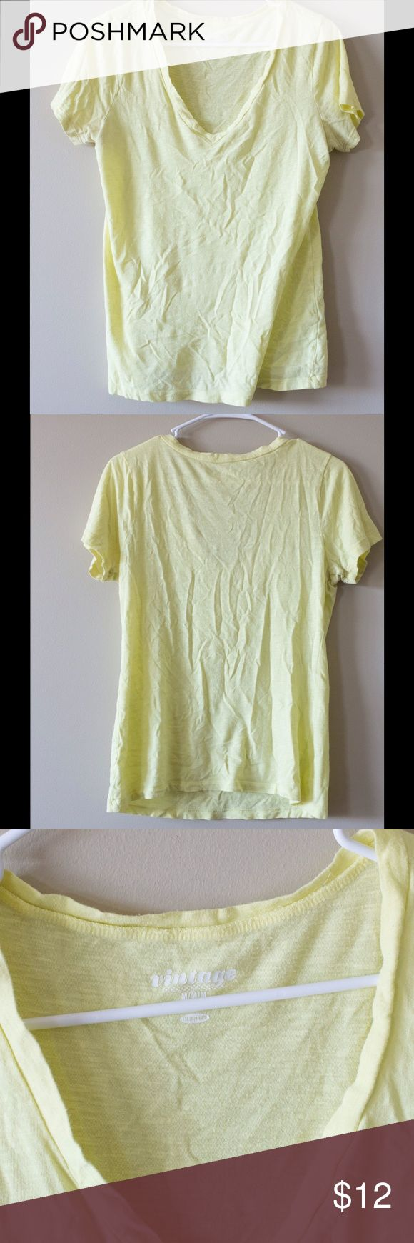Old Navy tee Yellow old navy tee shirt, pairs great with a cami and jeans! No damage but some wrinkles Old Navy Tops Tees - Short Sleeve