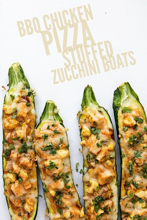 BBQ Chicken Pizza Stuffed Zucchini Boats