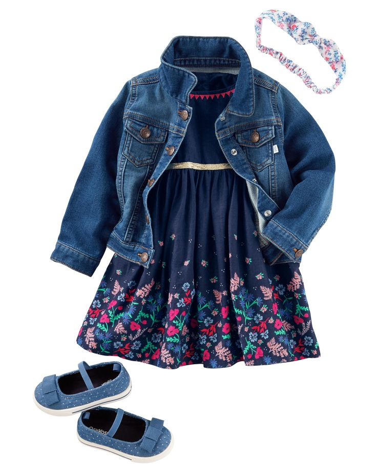 She couldn't get much cuter in a classic jean jacket and sweet dress for spring. A floral bow headwrap tops her off! She's dressed to impress in a classic jean jacket and sweet dress for spring. Bow bedecked accessories add those final girly touches.