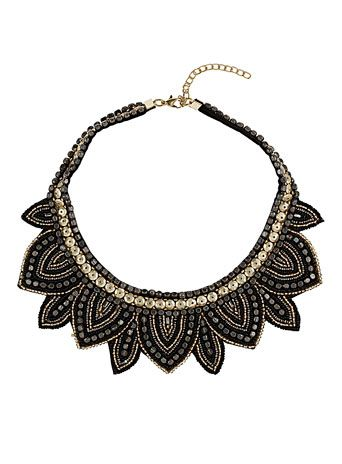 Sequin beaded gold necklace   Dorothy Perkins