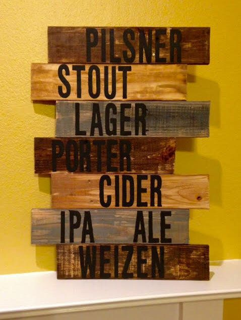 pub decor / pub sign / beer sign / bar sign / rustic wall decor / rustic pallet sign / brewery art / craft beer / wall decor / beer by CoastalTactics on Etsy https://www.etsy.com/listing/266617279/pub-decor-pub-sign-beer-sign-bar-sign