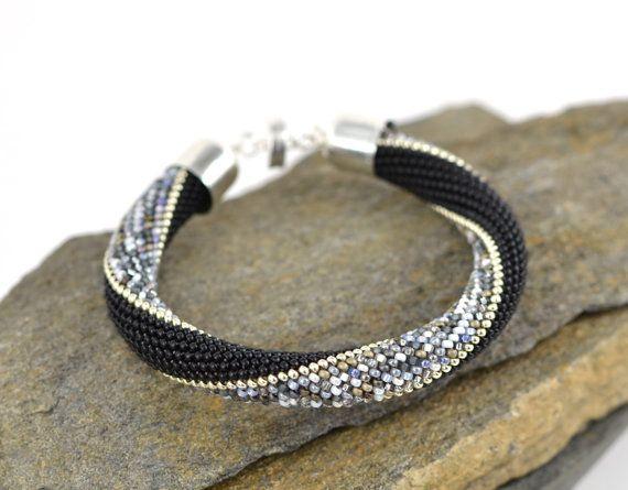 Foggy London Silver Bracelet Classic Bead Crochet by LeeMarina