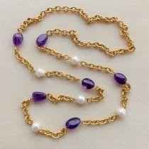 Collana catene lavorate tono oro giallo,ametista e perle naturali