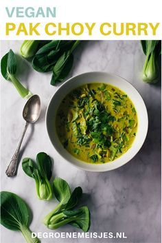 Groene curry met Pak Choy, gember, kurkuma, kokosmelk etc. Combineer het met witte rijst of met naan brood. Lees het recept op de blog