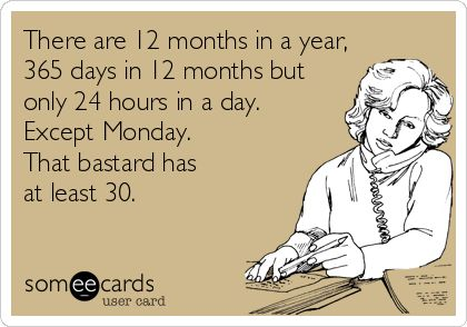 There are 12 months in a year, 365 days in 12 months but only 24 hours in a day. Except Monday. That bastard has at least 30. | Workplace Ecard | someecards.com