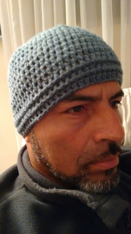 Gorro hombre, crochet, gris