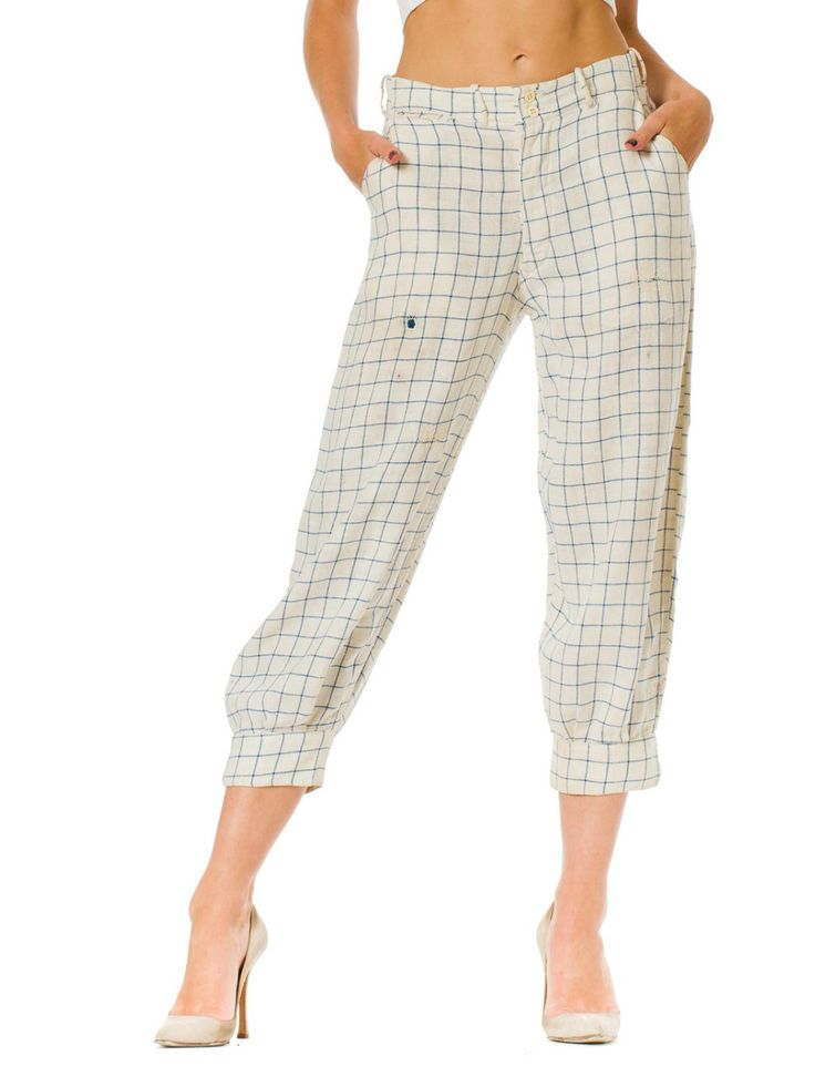 1920s Men's Knickers Linen Plaid Trouser Pants