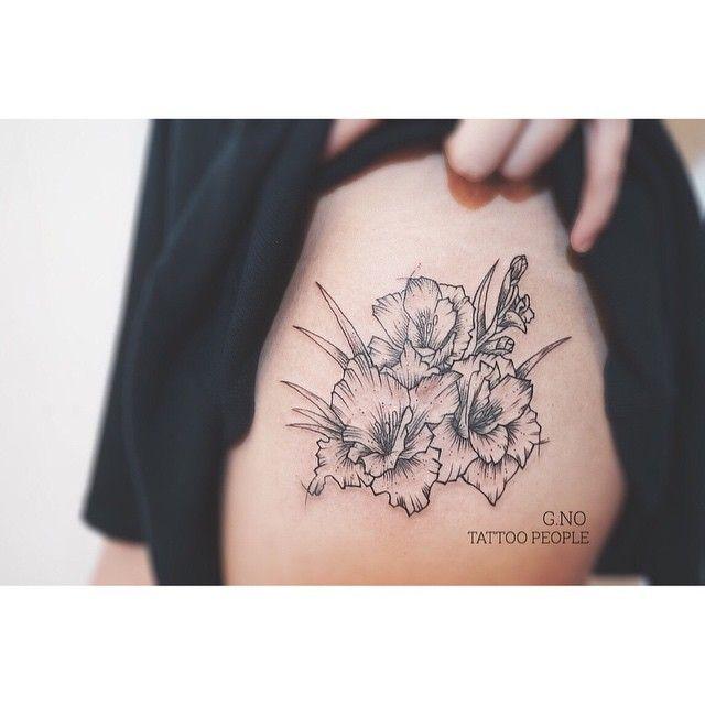 Gladiolus  #tattoo #flowertattoo #linework #tattoopeople #torontotattoo…