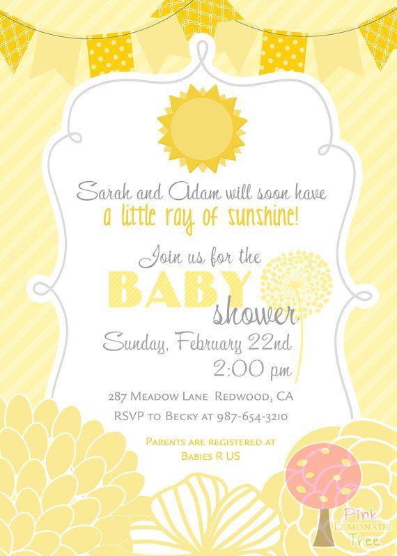 sunshine baby shower invitation yellow chevron by pinklemonadetree