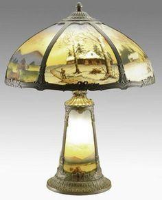 Lámpara de mesa; Pittsburgh Glass, Invertir pintado, paisajes de invierno, toldo de cúpula, de 23 pulgadas.