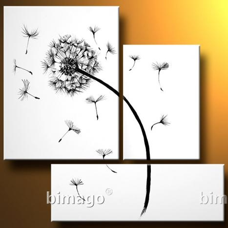 white and black dandelion painting by John Walker. I think this and the black one would look really cool next to each other