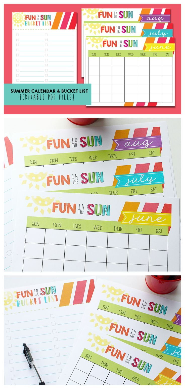 Free Printable Summer Bucket List and Summer Calendar