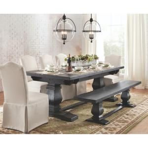 Home Decorators Collection Aldridge Extendable 9 ft. Rustic Dining Table in Washed Black 1673000910 at The Home Depot - Mobile