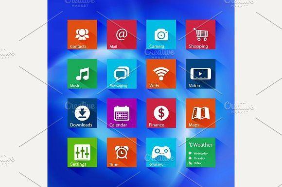 Icon series in Metro style. UI Elements