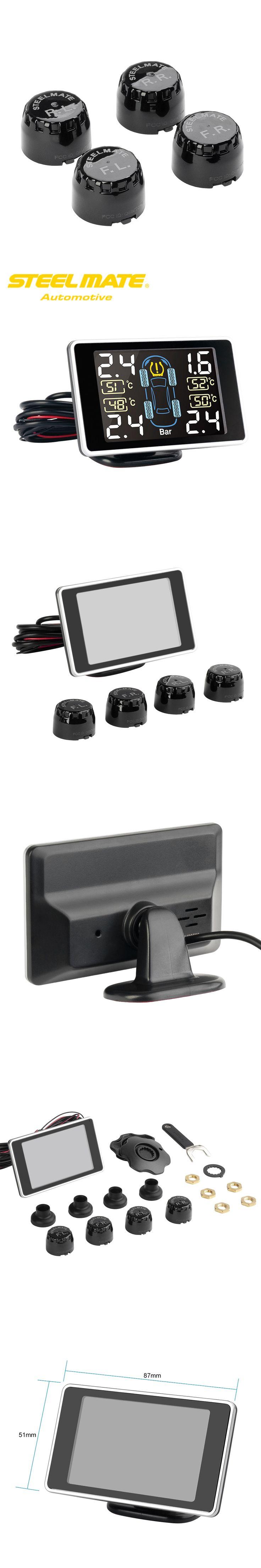 Steelmate TP-11 TPMS Tire Pressure Monitoring System LCD Display 4 Valve-cap External Sensors Bar PSI Unit Wireless Transmission