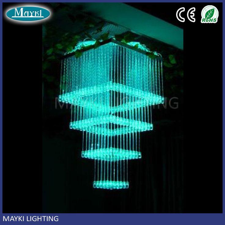 Hotel used Plastic 4 layer fiber optic chandelier with led fiber optic chandelier