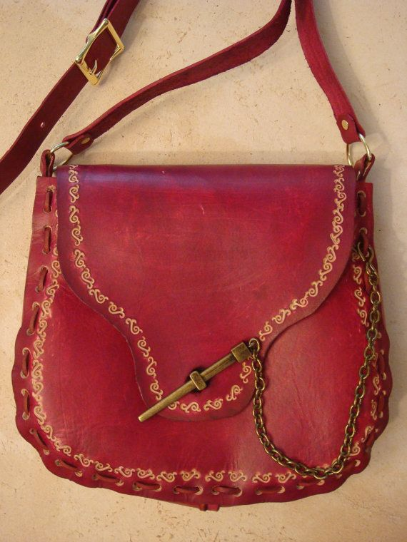 Kim Tooled Red Leather Crossbody Bag  Shoulder by HawkinsLeather