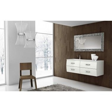 Washbasin base unit with 4 drawers and handles, in White High Gloss  Finish and Top with mounted washbasin in High Gloss White Tecnolux.
