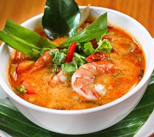 Tom Yum Goong soup. Tom Yum Goong is Thai spicy and sour shrimp soup.Very easy to cook and very delicious!!!
