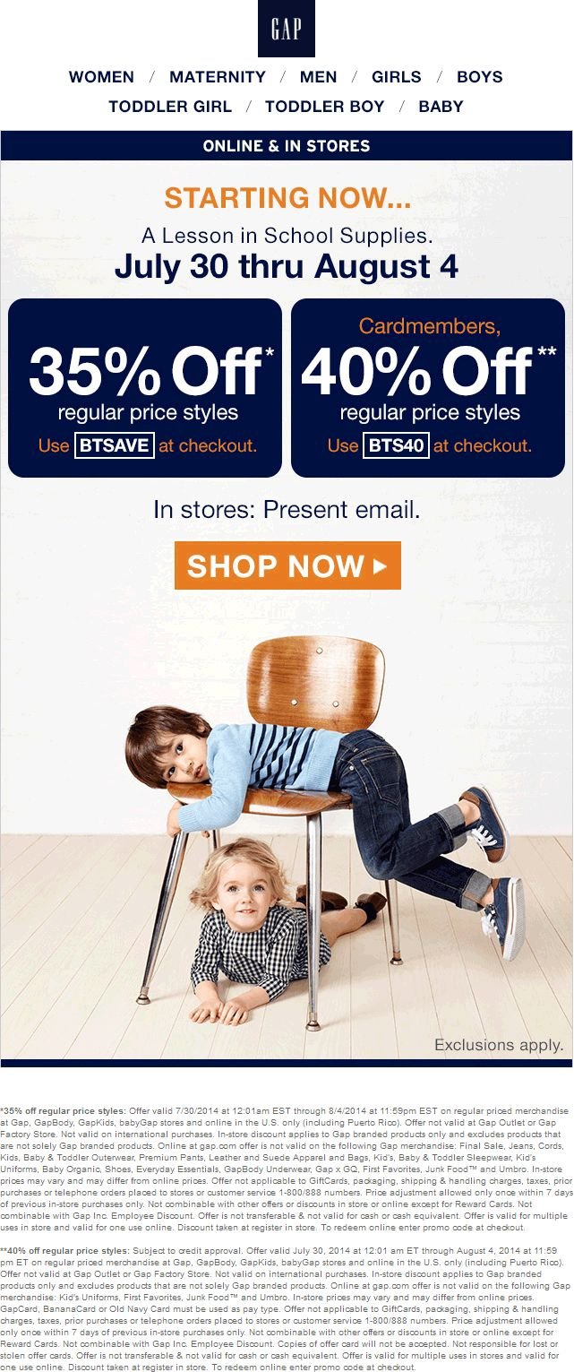 Pinned july 30th 35 off at gap or online via promo code