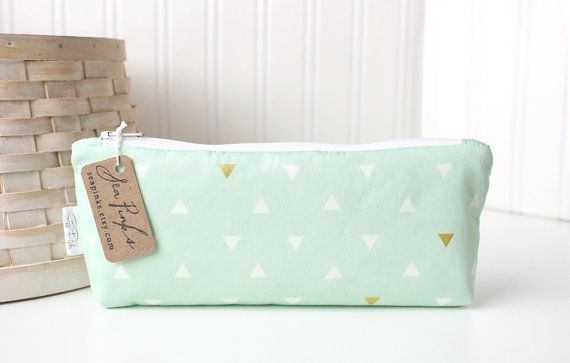 Mint Green Pencil Bag Mint and Gold Geometric Triangles Cute Pencil Case Pastel Pencil Pouch on Etsy, $14.29