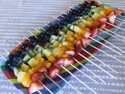Rainbow skewers fruit (St Paddys Day). Fun fruit APPITIZER platter display. Get kids ti eat more fruit