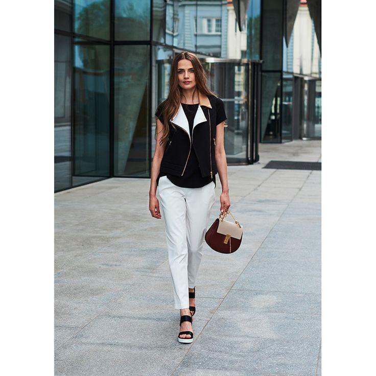 Cotton vest with colour block lapels by Bluebirds & Co. Personalized women's clothes.