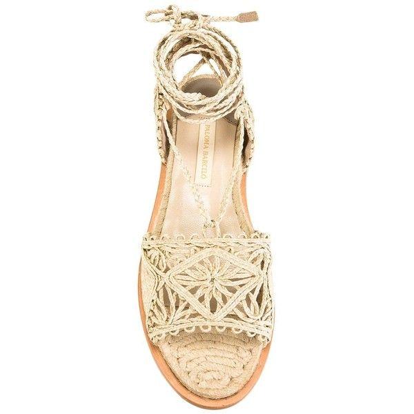 Paloma Barceló raffia flat sandals ($243) ❤ liked on Polyvore featuring shoes, sandals, paloma barceló, nude sandals, nude shoes, paloma barcelo shoes and flat footwear