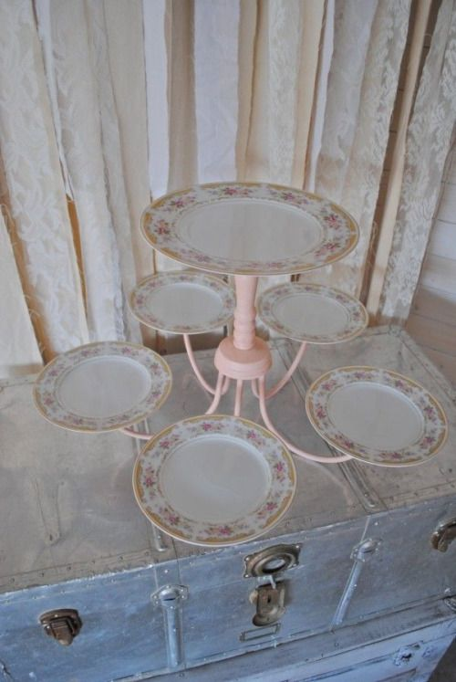 an old chandelier and a few plates for a special cake stand