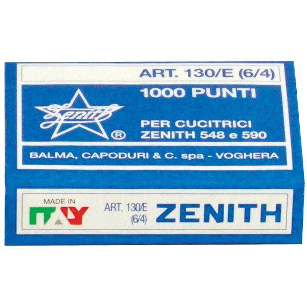 """Punti metallici per cucitrice Zenith 130/E I punti """"ZENITH"""" si distinguono per la qualità del filo e per l'affilatura delle estremità delle gambine. Scatola da 1000 punti 6/4 in acciaio naturale"""