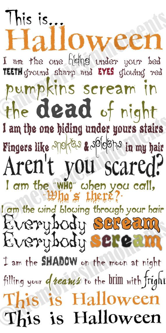 This is my FAVORITE Halloween song.  I am going to mount this on a thin board and hang it on my wall.. This is Halloween...