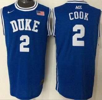Men's Duke Blue Devils #2 Quinn Cook Blue Round Collar College Basketball  Jersey