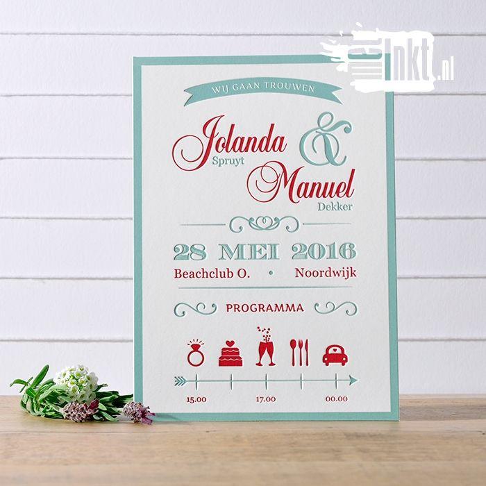 Letterpress trouwkaart met een moderne vintage stijl door het gebruik van elementen in deze stijl