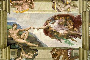 La Creación de Adán, de Miguel Ángel, en el techo de la capilla Sixtina