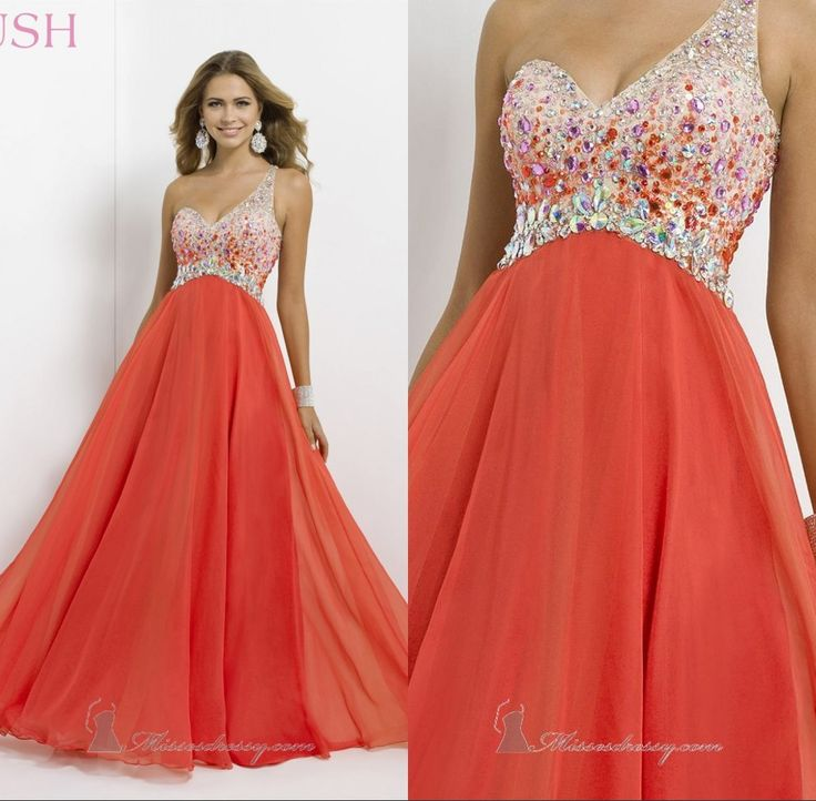 2014 Cheap Dresses Sexy Sweetheart Dresses A-Line Floor Length Crystal One Shoulder Sleeveless Empire Chiffon Prom Dress Rushed