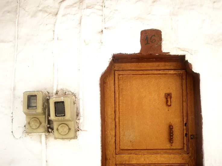 Παλιά πόρτα~ Old door with the box of electricity supply beside it