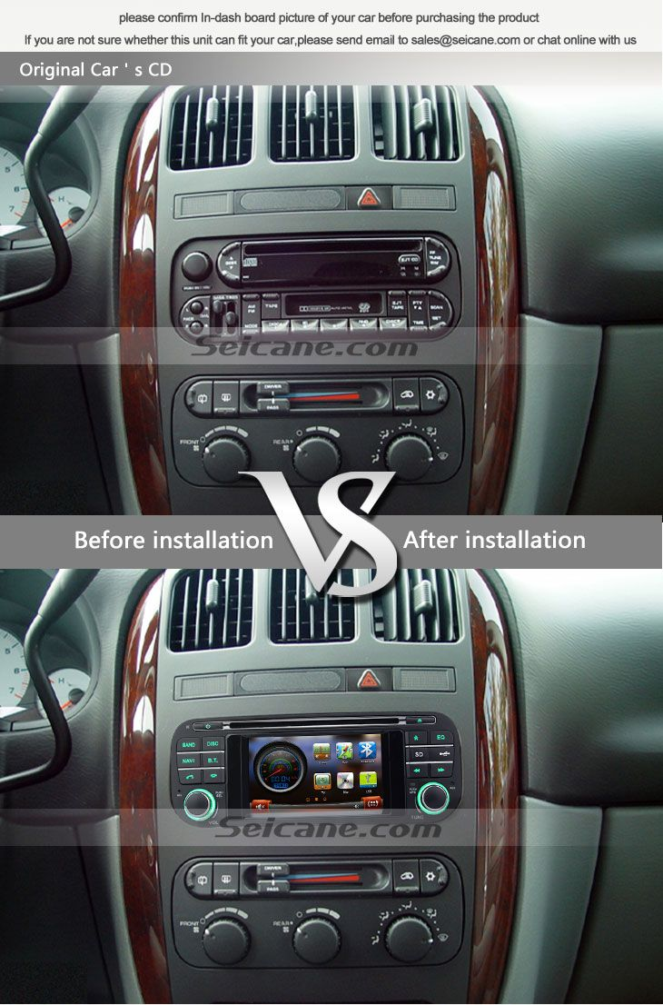 OEM 1999-2004 Jeep Grand Cherokee aftermarket car stereo navigation system before installation vs after installation