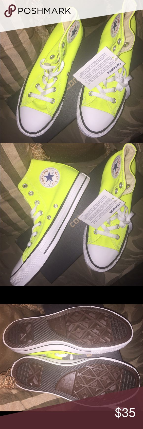 BRAND NEW! Converse neon high tops Brand new never worn neon converse chuck taylor high tops! Perfect condition and ready to brighten up your fall attire! Converse Shoes Sneakers