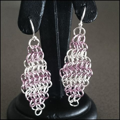 Pink and Silver Handmade Diamond Mesh Earrings