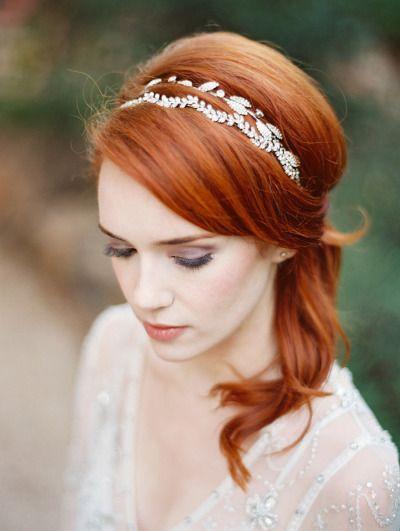 A glam bridal headband: http://www.stylemepretty.com/texas-weddings/2015/07/14/ethereal-lavendar-hued-editorial/   Photography: Charla Storey - http://www.charlastorey.com/