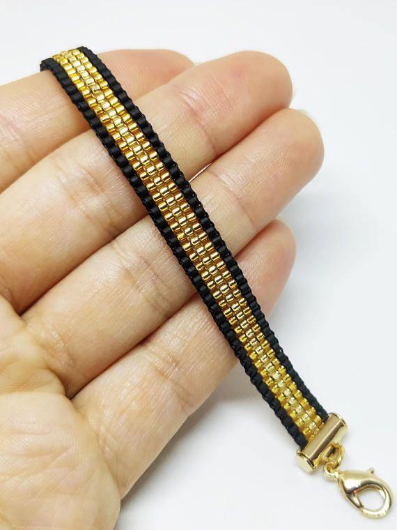 Luxury black & gold loomed bracelet/ Bead woven bracelet/ 16K