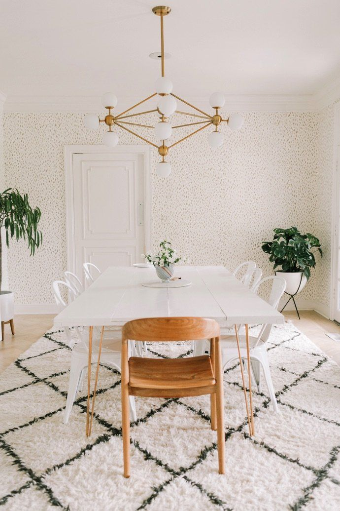 Mod Dining Room With Gold Wallpaper