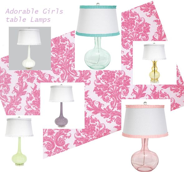 Lovely Table Lamps For Girls Bedrooms, Adorable, Pastel Colors, Lavender, Green,  Pink