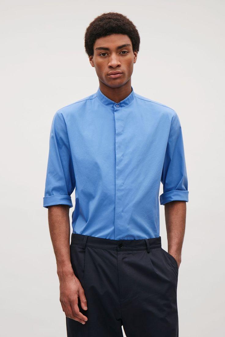 COS image 2 of 3/4 sleeve grandad shirt in Blue