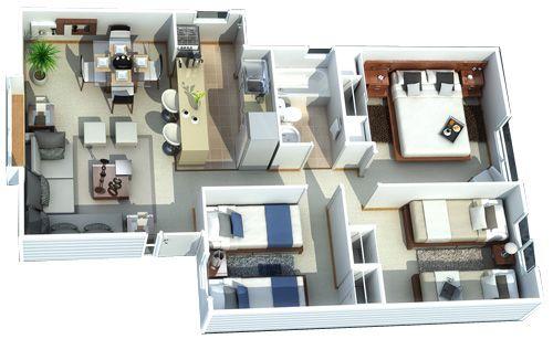 Modelos de casas de una planta 3 dormitorios buscar con for Modelos de casas de 3 dormitorios