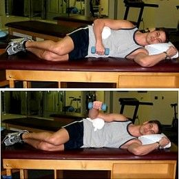 External Rotation in Prone Position - Lie on side with your elbow resting on stomach. Slowly rotate arm upwards until your lower arm is just above horizontal. This exercise can be initiated using a 2-3 pound dumbbell.