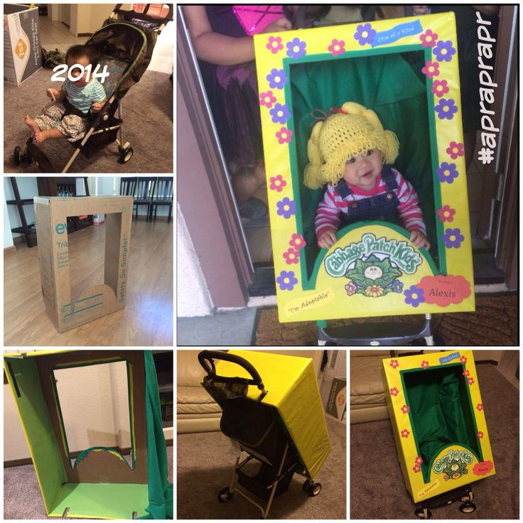 Saw on Huffpost -- I had to do it. We didn't have an umbrella stroller ordered one on Amazon prime $29.99 Costco brand. Used one of her old car seat box. Ordered wig on etsy.. cabbage patch costume diy halloween